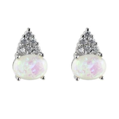 Sterling Silver, White Opal & Cz Cluster Studs