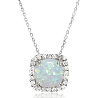 Sterling Silver, White Opal & Cz Halo Necklace