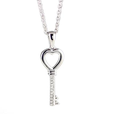 Elsa M Key To My Heart Diamond & Sterling Silver Key Necklace