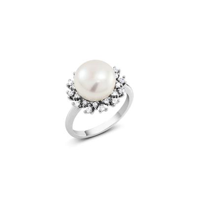 Sterling Silver, Pearl & Cz Sunburst Halo Ring