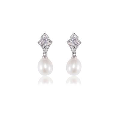 Vintage Style Sterling Silver, Cz & Pearl Earrings