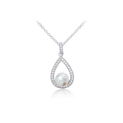 Sterling Silver, Cz & Floating Pearl Necklace