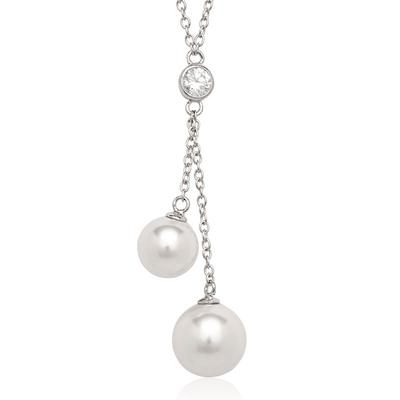 Sterling Silver, Cz & Shell Pearl Necklace