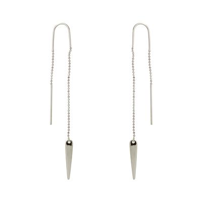 Sterling Silver Abstract Drop Threader Earrings