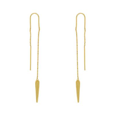 Golden Abstract Drop Threader Earrings