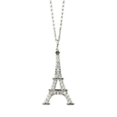 Sterling Silver & Cz Eiffel Tower Necklace