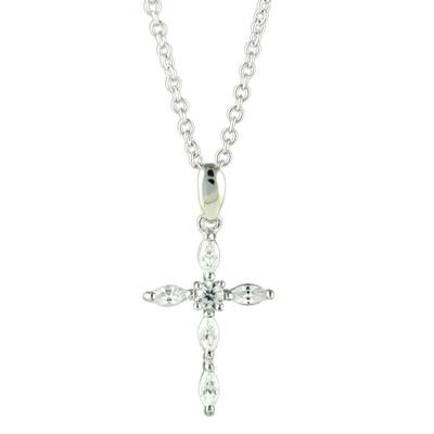 Sterling Silver & Marquis Cz Cross Necklace