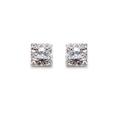 Petite Sterling Silver & Cz Square Halo Studs
