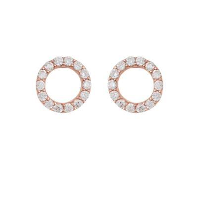 Pave Cz & Rose Gold Open Circle Studs