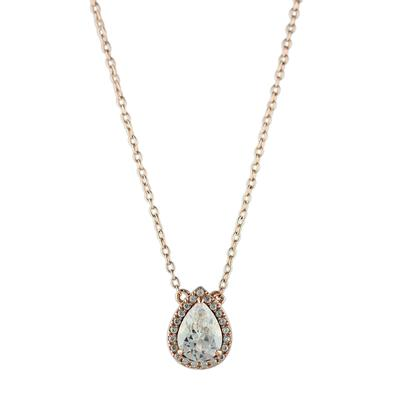 Pear Shaped Rose Gold & Cz Halo Necklace