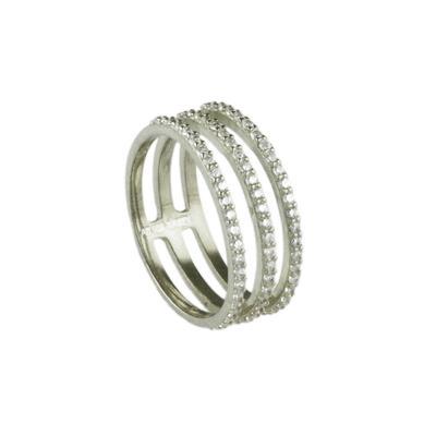 Sterling Silver & Cz Three Line Ring