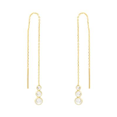Gold & Cz Trio Threader Earrings