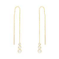 Gold & CZ Trio Threader Earrings