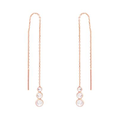Rose Gold & Cz Trio Threader Earrings