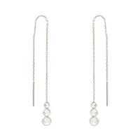Sterling Silver & CZ Trio Threader Earrings
