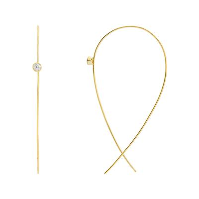 Gold & Cz Threader Hoops