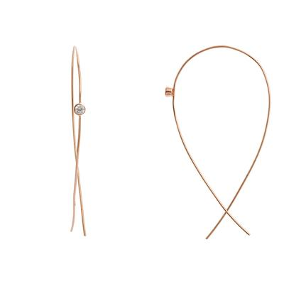 Rose Gold & Cz Threader Hoops