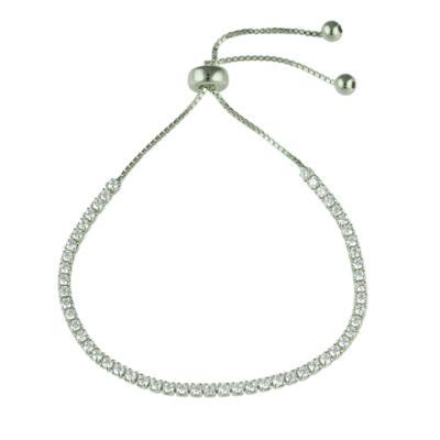 Adjustable Sterling Silver & Cz Bracelet