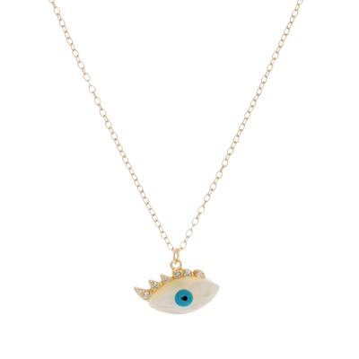 Gold & Mother Of Pearl Evil Eye Necklace