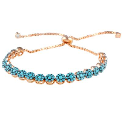 Turquoise Cz Cluster & Rose Gold Adjustable Bracelet