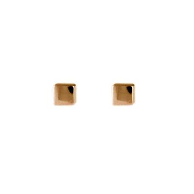 Rose Gold Plated Sterling Silver Cube Studs