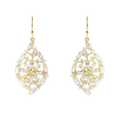 Gold & Baguette Cz Cluster Earrings