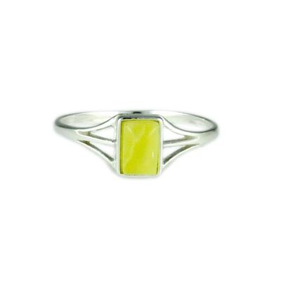 Petite Sterling Silver & Rectangle Butterscotch Amber Ring