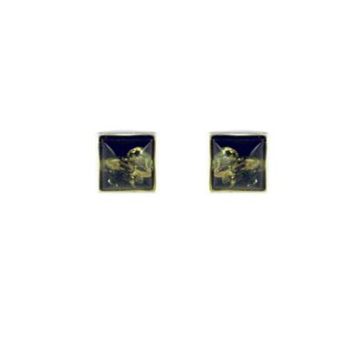 Sterling Silver & Square Green Amber Studs