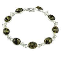 Sterling Silver & Oval Green Amber Bracelet