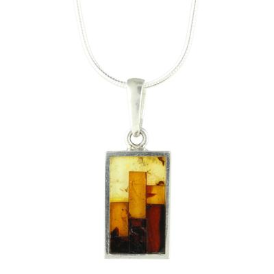 Sterling Silver & Mosaic Amber Necklace