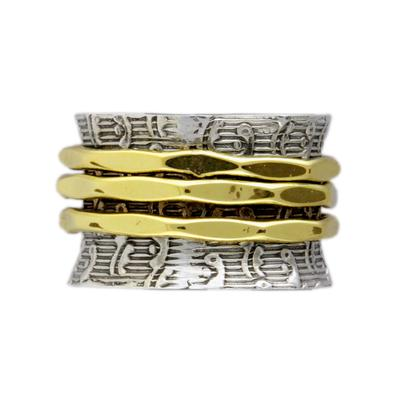 Sterling Silver & Brass Spinner Ring