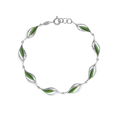 Boma Sterling Silver & Green Turquoise Leaf Bracelet