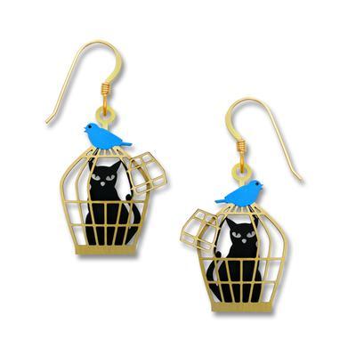 Sienna Sky Bluebird & Caged Cat Earrings