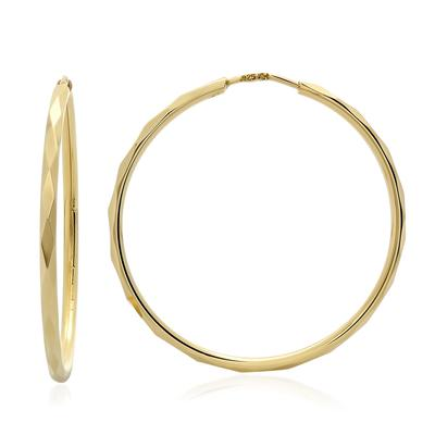 Large Faceted Gold Plated Sterling Silver Hoops