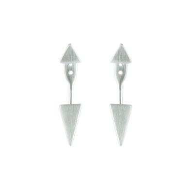 Tashi Brushed Sterling Silver Triangle Double Sided Earrings