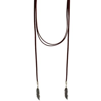 Brown Suede Feather Lariat Necklace
