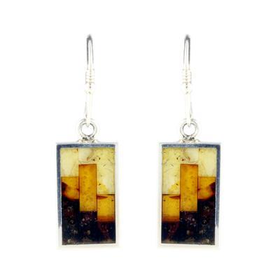 Sterling Silver & Mosaic Amber Earrings