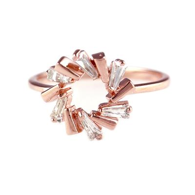 Rose Gold Plated Sterling Silver & Cz Circle Ring