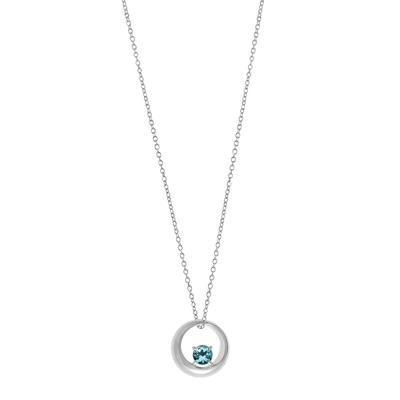 Boma Round Blue Topaz & Sterling Silver Curve Necklace