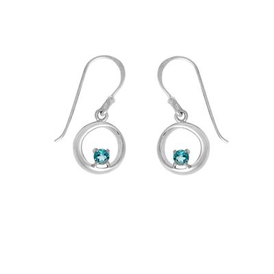 Boma Round Blue Topaz & Sterling Silver Curve Earrings