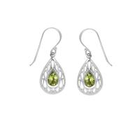 Boma Pear Shaped Peridot & Sterling Silver Ripple Earrings