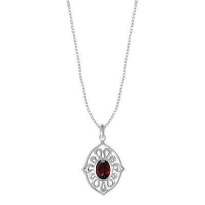 Boma Oval Garnet & Sterling Silver Ripple Necklace