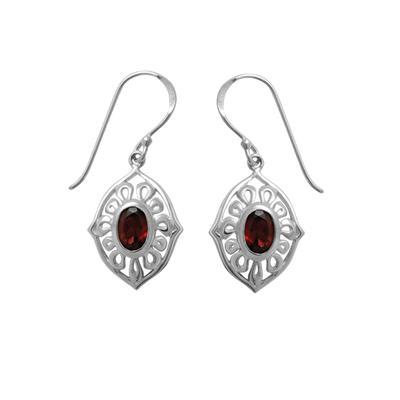 Boma Oval Garnet & Sterling Silver Ripple Earrings