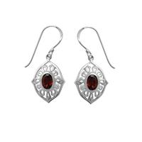 Boma Oval Garnet & Sterling Silver Ripple Earrings