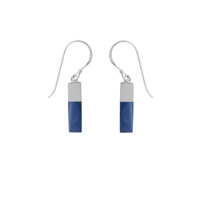 Boma Sterling Silver Dipped Rectangle Lapis Earrings