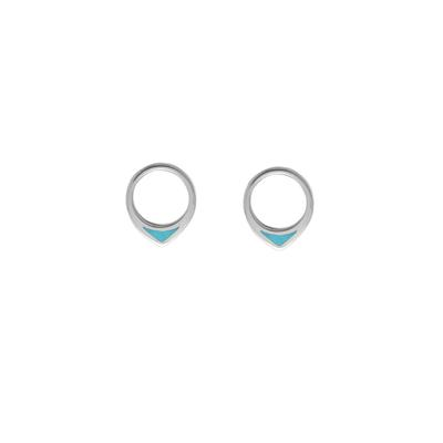 Boma Sterling Silver & Turquoise Pointed Circle Studs