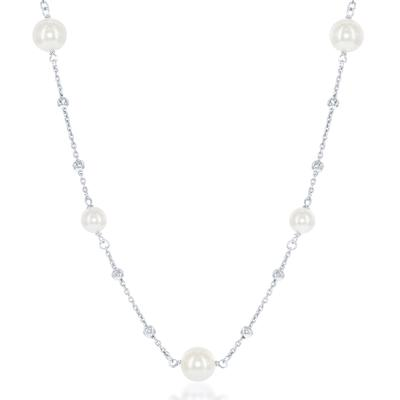 Pearl & Diamond Cut Sterling Silver Bead Necklace
