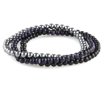 Power Mini Bracelet Trio : Black Agate, Blue Goldstone & Hematite