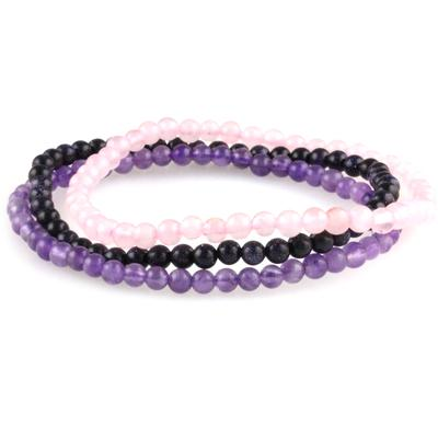 Power Mini Bracelet Trio : Amethyst, Blue Goldstone & Rose Quartz