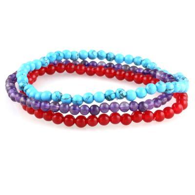 Power Mini Bracelet Trio : Amethyst, Red Jade & Turquoise